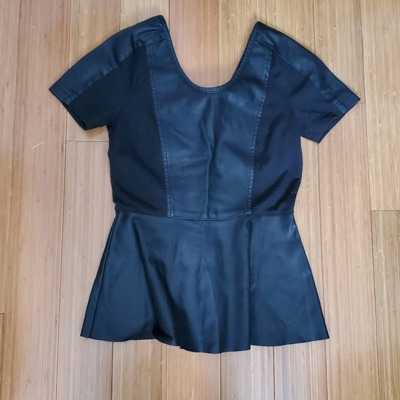 2/$20 Only Faux Leather peplum blouse sz 36/4